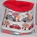 Snood tour de cou polaire garçon enfant 57 cm beige gris rouge voitures